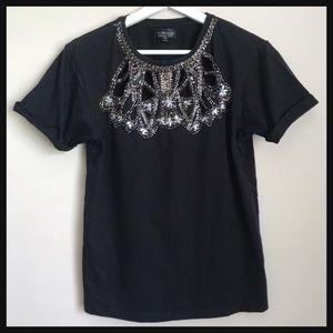 TOPSHOP | black cutout embellished t-shirt